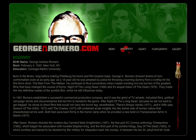 George A. Romero Flash website
